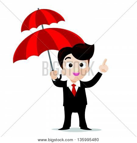 Business protection concept business man cartoon smile showing the finger point and umbrella in hand with confidence vector illustration eps10 isolated on white background