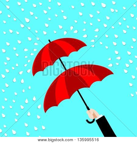 Double protection concept hand holding double layer of umbrella on the blue and rain background vector illustration eps10
