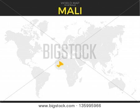 Republic of Mali location modern detailed vector map. All world countries without names. Vector template of beautiful flat grayscale map design with selected country and border location