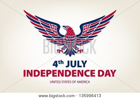 American Eagle Background. Easy To Edit Vector Illustration Of Eagle With American Flag For Independ