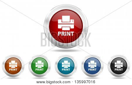 printer round glossy icon set, colored circle metallic design internet buttons