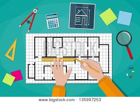Engineer hands working on blueprint. Engineering drawing project, Sketching building. Engineer worksspace. ruler, calculator. vector illustration in flat style on green background