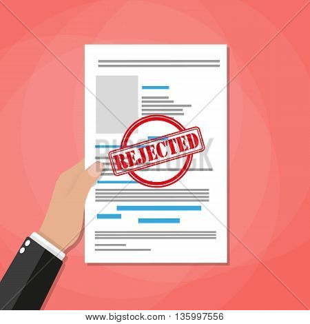 Hand holds rejected paper document, red rejected stamp. Vector flat illustration in flat style on red background