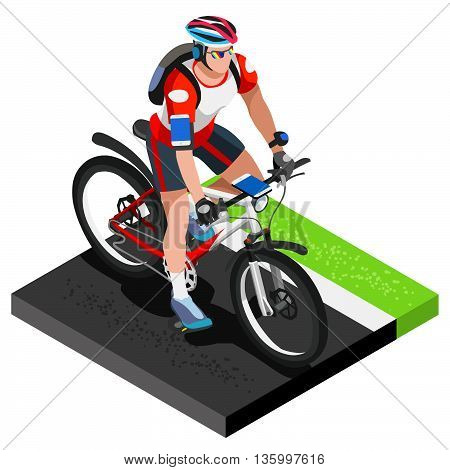 Road Cycling Cyclist Working Out.3D Flat Isometric Cyclist on Bicycle. Outdoor Working Out Road Cycling Exercises. Cycling Bike for Bicyclist athlete Working Out training Vector Image