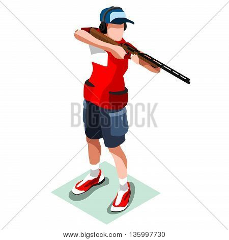 Shooting Player Summer Icon Set.3D Isometric Shooter Athlete.Sporting Championship International Shooting Competition.Olympics Sport Infographic Shooting Vector Illustration
