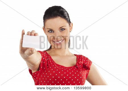 Smiling Woman With Card