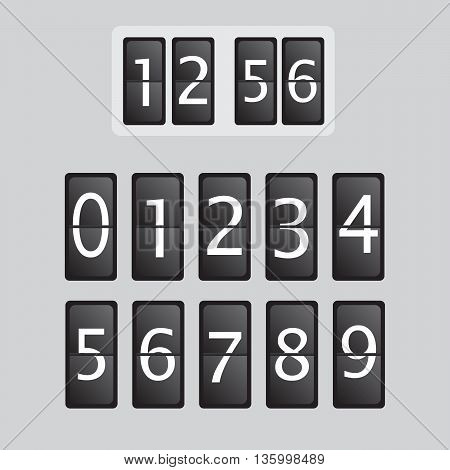 Wall flap counter clock vector template. Time clock eps10