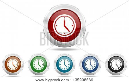 time round glossy icon set, colored circle metallic design internet buttons