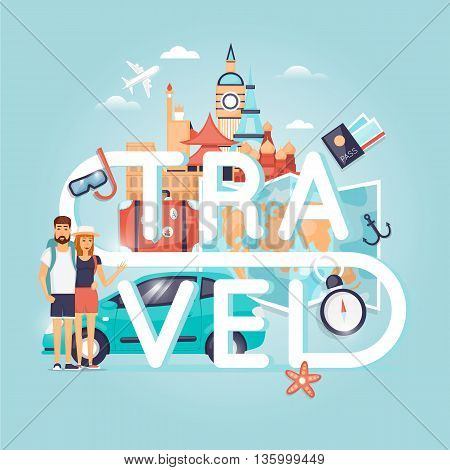 Two young tourists on vacation. Character design. World Travel. Planning summer vacations. Summer holiday. Summer travel. Tourism and vacation theme. Flat design vector illustration. Poster.