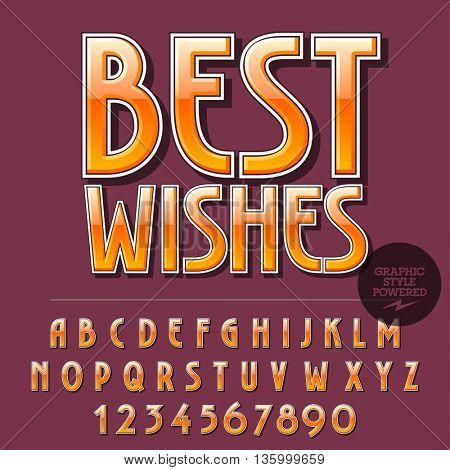 Glossy set of alphabet letters, numbers and punctuation symbols. Reflective vector greeting card with text Best wishes