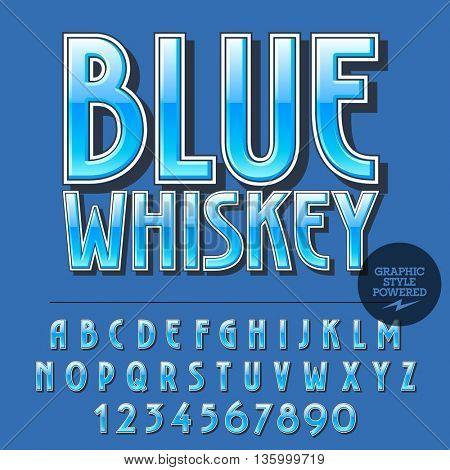 Glossy set of alphabet letters, numbers and punctuation symbols. Reflective vector label with text Blue whiskey