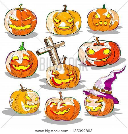 Vector design of Halloween greeting  with Jack-o-lantern pumpkin