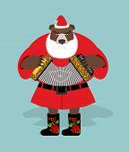 Russian bear in guise of snata Claus. Wild animal in Christmas attire. New years character. Russian national texture. poster