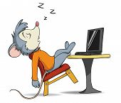 Vector illustration. Cartoon sleeping mouse on chair with laptop poster