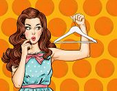 Pop Art thinking girl with hanger. Comic woman. Sexy girl. Amazed woman.Vintage advertising poster.Thinking woman. flirt, art, pretty, purchase, shop, gossip, face, voucher, retro, pop, gift, discount poster
