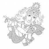black and white god lord Krishna for Janmashtami festival, line art vector illustration poster