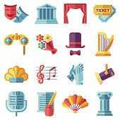 Theatre acting performance flat icons set. Drama performance theater, comedy performance theater, curtain and mask, tragedy performance theater. Vector illustration poster