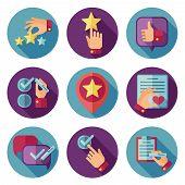 Customer service flat vector icons set. Customer icon, service customer icon, comment writing customer illustration poster