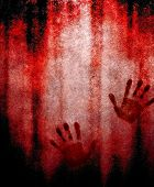 bloody hand print on wall poster