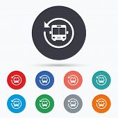 Bus shuttle icon. Public transport stop symbol. Flat bus shuttle icon. Simple design bus shuttle symbol. Bus shuttle graphic element. Circle buttons with bus shuttle icon. Vector poster