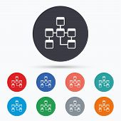 Database sign icon. Relational database schema. Flat database icon. Simple design database symbol. Database graphic element. Circle buttons with database icon. Vector poster