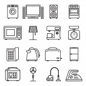 Thin line home appliances icons, household outline icons. Stroke vector household appliances signs.. Appliance household, machine equipment appliance, kitchen appliance illustration poster