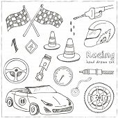 Racing auto items sketch icons hand drawn vector set with racing flags first place prize cup medal sport car isolated vector illustratio poster