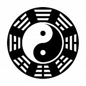 "Yin and yang symbol. Modern yin-yang symbol isolated on white background. Fu Xi ""Earlier Heaven"" bagua arrangement poster"