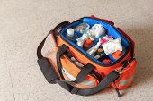 First aid kit with Bag and medicines, assist patient in emergency rescue situations.(select focus front Bag) poster