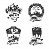 RV and campers vector emblems, labels, badges, logos set. Camper park label, rv park emblem, park rp recreation logo, park rv badge illustration poster