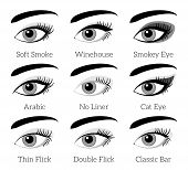 Eye makeup types. Vector infographic. Makeup eyelash, beauty makeup female, cosmetic fashion makeup eyebrow, closeup makeup eyelid illustration poster