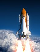Space Shuttle Launch In The Clouds. 3D Illustration. poster
