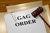 "3D illustration of ""GAG ORDER"" title on Legal Documents. Legal concept. poster"