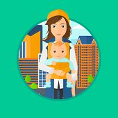 Mother carrying son in sling. Mother with baby in sling walking in the city street. Young mother carrying a newborn in sling. Vector flat design illustration in the circle isolated on background. poster
