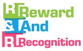 R And R - Reward And Recognition text over colorful background. poster