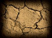 Parched and Cracked Dry Ground in Full Sunlight with Dark Edge poster