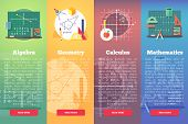 Mathematics banners. Flat vector education concept of math, algebra, calculus. Vertical layout composition. poster