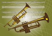 An illustration of a pair of trumpets set on a landscape format background of thin lines and musical notations and musical notes. poster