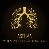 World Asthma Day. Asthma awareness poster with lungs filled with gold air bubbles on dark background. Bronchial asthma symbol. National asthma day. Asthma solidarity day.  Medical concept. Quote. poster