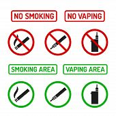 Set of No Smoking and Smoking Area symbols. Cigarettes and vaporizers (electronic cigarettes) text signs. poster