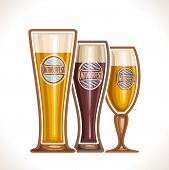 Vector logo glass cups of beer, consisting of cups,with light and dark porter, lager and pilsner beer. On glass pint with alcohol drink label oktoberfest on background of emblem fest white blue rhombus poster
