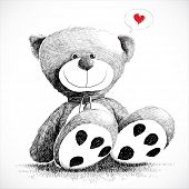 Hand drawn teddy bear isolated on white. poster