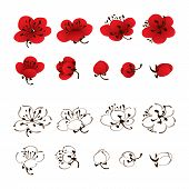 Variety of different oriental styled plum blossom flowers in red and white (outline), vectorized brush painting. poster