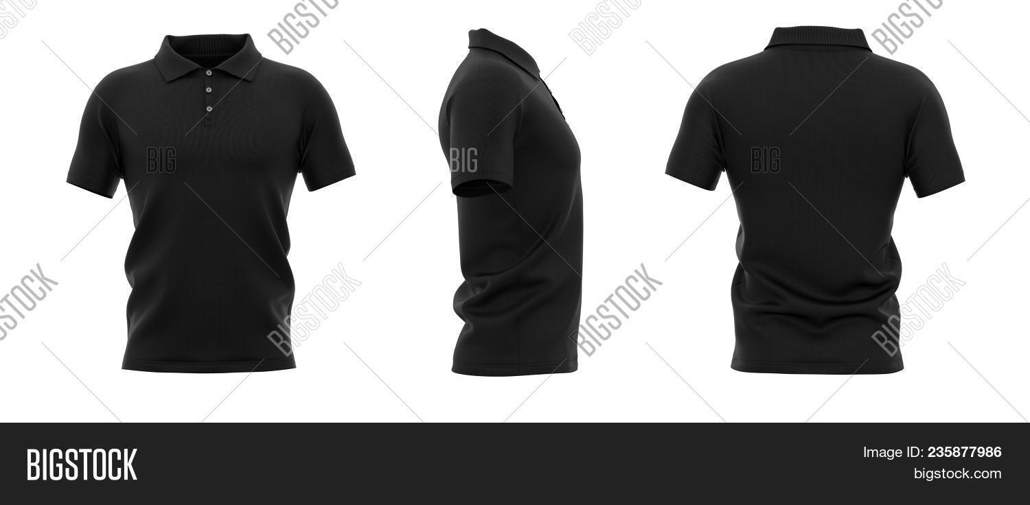 ea2e266204cf9f Men's polo shirt with short sleeve. Back, front and side views. 3d rendering