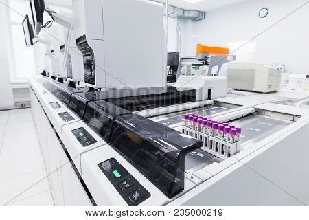 Saint-petersburg, Russia - April 6, 2018:  Haematology Automation Line Sysmex Xn-9000. Clinical Labo