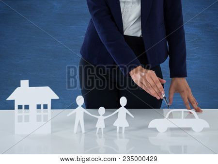 Cut outs of house family and car insurance