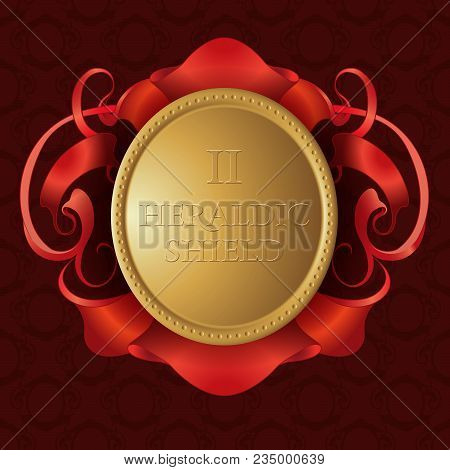 Gold Heraldic Shield. Gold Shield With Red Ribbon On Seamless Pattern Background.