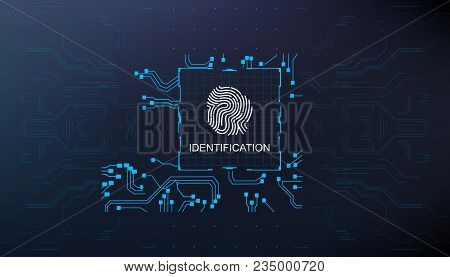 Finger Scan In Futuristic Style Biometric Id With Futuristic Hud Interface Fingerprint Scanning