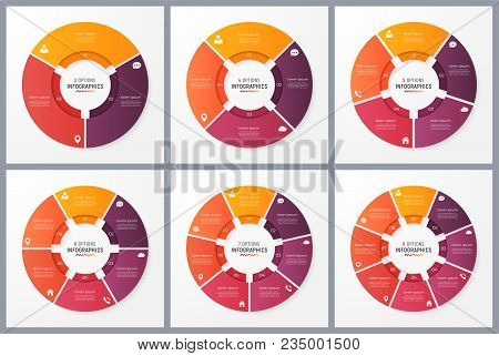 Circle Chart Templates With 3 4 5 6 7 8 Options. Vector Design For Infographics, Presentations, Repo