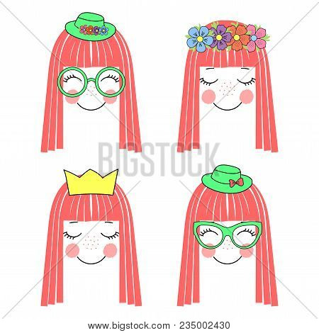 Hand Drawn Vector Illustration Of A Cute And Funny Girl Faces With Long Hair, Flower Chain, Crown, H